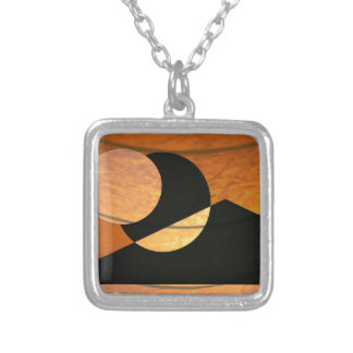 Planets Glow, Black and Copper, Graphic Design Silver Plated Necklace