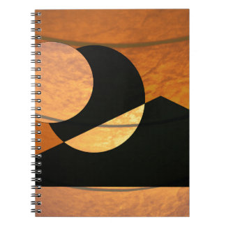 Planets Glow, Black and Copper, Graphic Design Spiral Notebook