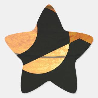 Planets Glow, Black and Copper, Graphic Design Star Sticker