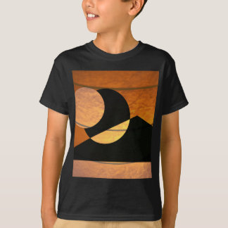 Planets Glow, Black and Copper, Graphic Design T-Shirt