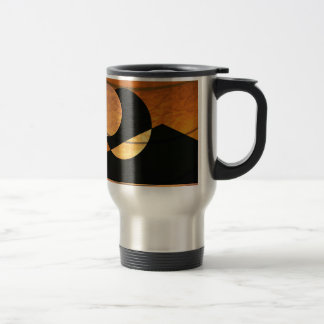 Planets Glow, Black and Copper, Graphic Design Travel Mug