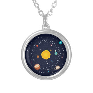 Planets of Solar System Silver Plated Necklace