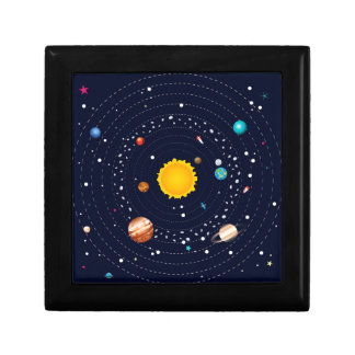 Planets of Solar System Small Square Gift Box