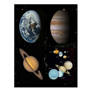 Planets solar system collage postcard