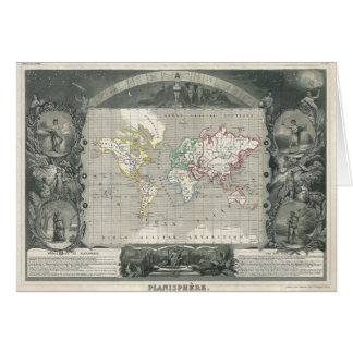 Planisphere 1847 Victor Levasseur Map of the World Card