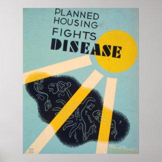 Planned Housing Fights Disease WPA Vintage Poster
