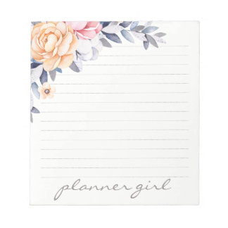 Planner Girl Floral Watercolor Notepad