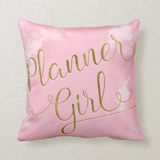 Planner Girl Pink and Gold Cushion