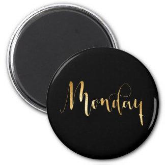 Planner Words Monday Black Gold Glam Script 6 Cm Round Magnet