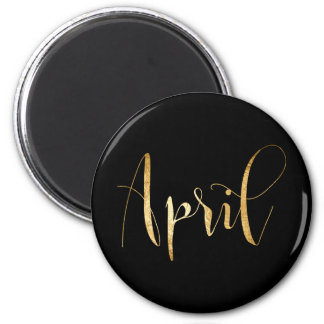 Planner Words Month April Black Gold Glam Script 6 Cm Round Magnet