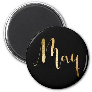 Planner Words Month May Black Golden Script 6 Cm Round Magnet