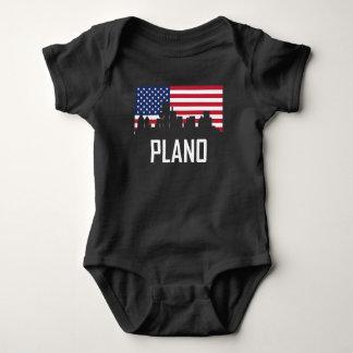 Plano Texas Skyline American Flag Baby Bodysuit