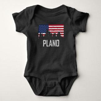 Plano Texas Skyline American Flag Distressed Baby Bodysuit