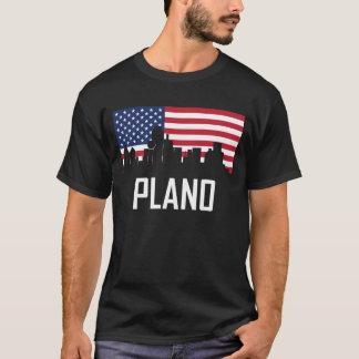 Plano Texas Skyline American Flag T-Shirt