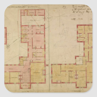 Plans for the Red House, Bexley Heath, 1859 (pen a Sticker