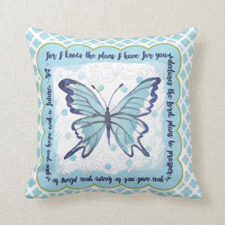 Plans for You Butterfly Pillow (Blue & Green)