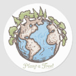 Plant a Tree Earth Day Gear Round Sticker