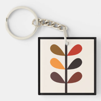 Plant Abstract Autumn Double-Sided Square Acrylic Key Ring