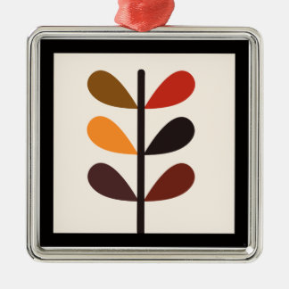 Plant Abstract Autumn Silver-Colored Square Decoration