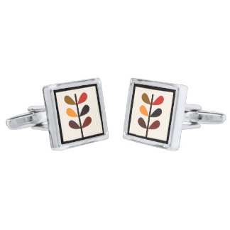Plant Abstract Autumn Silver Finish Cufflinks