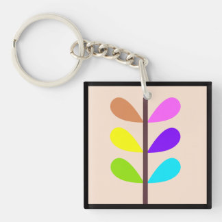 Plant Colourful Abstract Key Ring