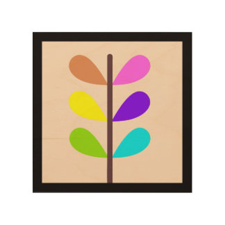 Plant Colourful Abstract Wood Wall Art