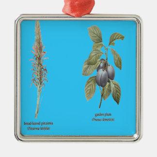 Plant Design Silver-Colored Square Decoration