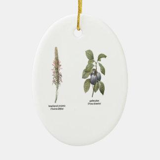 Plant Design Ceramic Oval Decoration