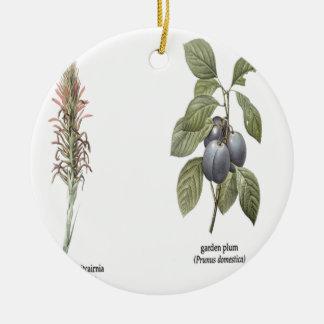 Plant Design Round Ceramic Decoration