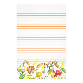 Plant Drawing Snapdragons Cosmos Flowers Stationery
