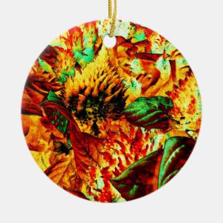 plant on fire round ceramic decoration