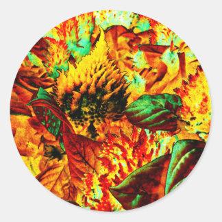 plant on fire round sticker