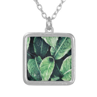 Plant prints green art Green Art Silver Plated Necklace