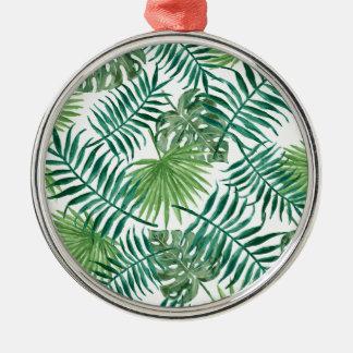 Plant Tropical Botanical Palm Leaf Silver-Colored Round Decoration