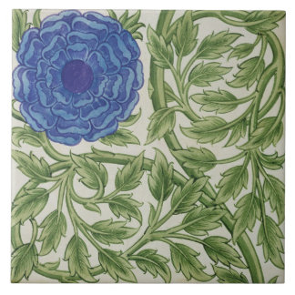 Plant with a blue flower (w/c on paper) ceramic tile