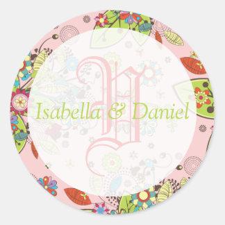 Plantilla personalizada Etiquetas Monograma Sello Round Stickers