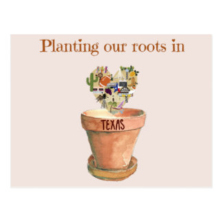 Planting our roots in Texas new home announcement Postcard