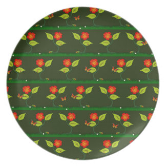 Plants and flowers party plate
