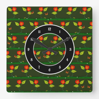 Plants and flowers square wall clock