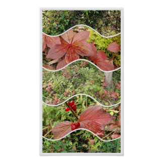 Plants of Autumn 5 Panel Collage Poster