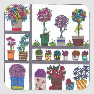 Plants on Shelves Square Sticker