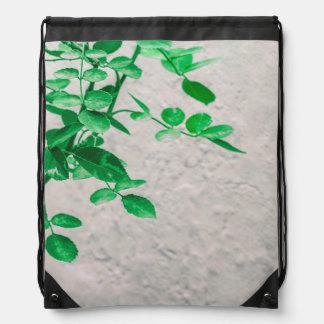 Plants over Wall Photo Drawstring Bag