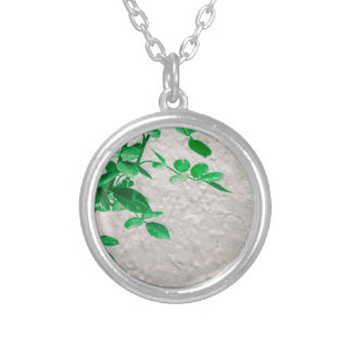 Plants over Wall Photo Silver Plated Necklace