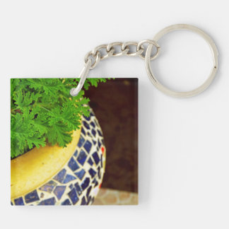 Plants Pot Double-Sided Square Acrylic Key Ring
