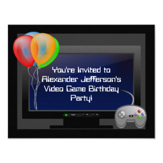 Plasma Video Game Gaming Birthday Party Invitation