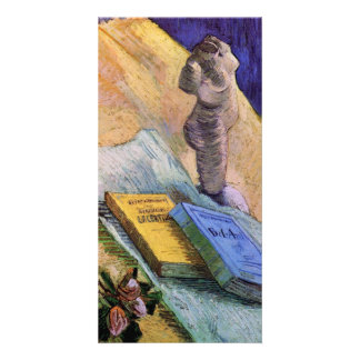 Plaster Statuette, a Rose and Novels - van Gogh Customised Photo Card