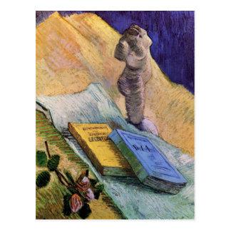 Plaster Statuette Rose Two Novels Vincent van Gogh Postcard