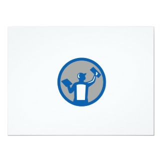 Plasterer Masonry Trowel Circle Retro Card