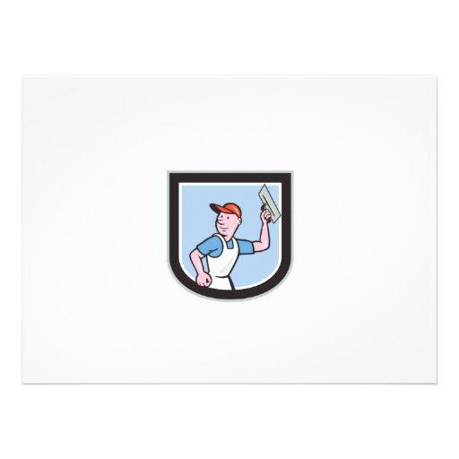 Plasterer Masonry Worker Shield Cartoon Custom Announcements