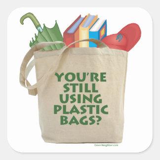 Plastic Bags Square Sticker